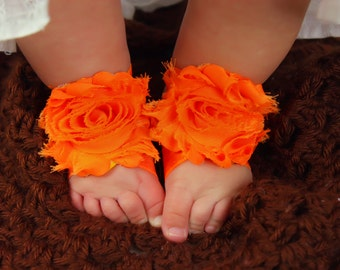 Orange Baby Barefoot Sandals, Orange Barefoot Sandals, Newborn, Infant, Toddler Sandals