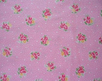 "Fat Quarter of Lecien Old New 30's Collection Small Rose Bouquets and Dots on Pink Background.  Approx. 18"" x 22""   Made in Japan"