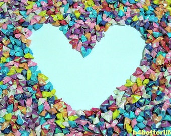 """Lot of 1,000pcs 3D Origami Hearts """"LOVE"""" In 8 different Colors. (RS paper series)."""