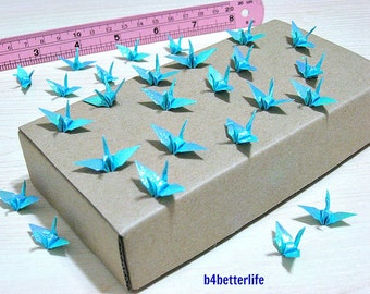 """100pcs Light Blue Color 1-inch Origami Cranes Hand-folded From 1""""x1"""" Square Paper. (TX paper series). #FC1-22."""