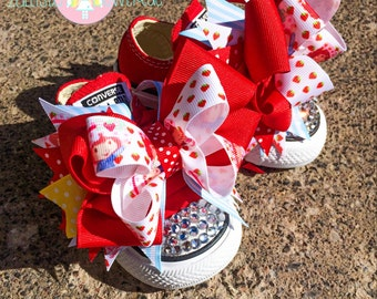 Strawberry Shortcake Blinged Out Converse Shoes with Shoe Bows