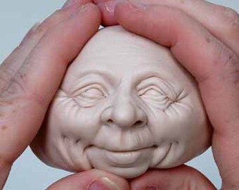 Moldf4 - 3 inch Face, a Jolly Male Face for Santas, Clowns, Leprechauns, Elves and more by Maureen Carlson