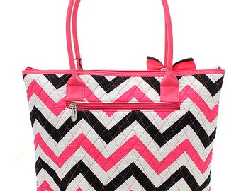 Black and white chevron handbag/purse/tote