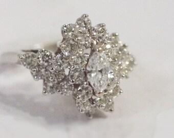 18K White Gold Ladies Cocktail Diamond Cluster Ring