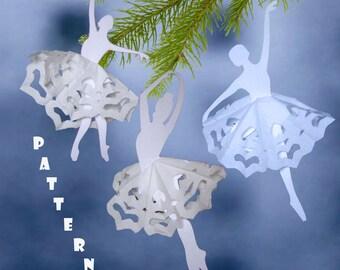 Pattern PDF and DIY Kit Holiday ornament Ballet dancers Instant Digital Download