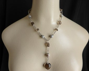ReallyPretty and Delicate Drop Necklace in Smokey Quartz and Agate