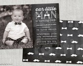 Little Man Invitation Boy 1st Birthday Invite Photo Chalkboard Bow Tie Mustache Custom Kids Party Invite 2nd 3rd 4th 5th 6th Birthday PDF