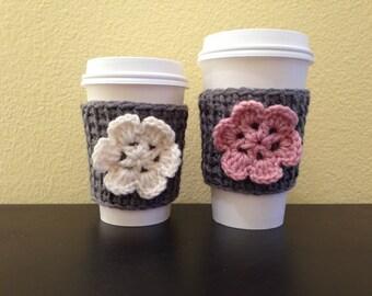 Crochet Coffee Cozy, Flower Coffee Cozy, Crochet Coffee Cup Sleeve, Flower Coffee Cup Cozies, Gift for Her, Reusable Cup Sleeve, Coffee Gift