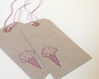 Letterpress gift tags - Ice cream cone - Set of 8