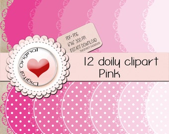 """12 Pink doily labels.12PNG(clipart) with transparent background.+12pdf sheetsJPG.High quality, 6""""x6"""" (576x576pixels) 300 PPP."""