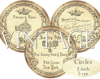Vintage Jewelry Circles 2 inch Instant Download digital collage sheet C222 French Bijouterie Bijoux Jewels