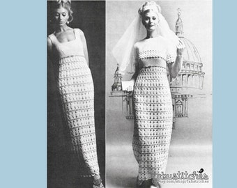 60s Maxi Dress and Bolero - Boho Chic Lacy Wedding Gown - Vintage Crochet Pattern - INSTANT PDF DOWNLOAD - 200606