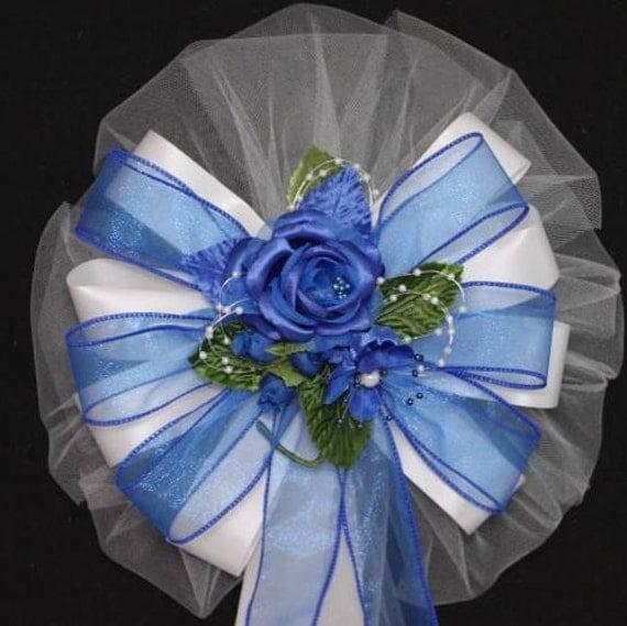 Royal Blue Rose Wedding Pew Bows Church Pew Decorations