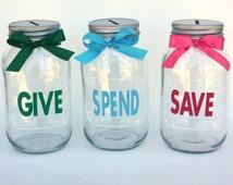 Give, Save, Spend mason jar banks, Coin Slot Lid, Large Quart Size, Customizable Banks, Personalized Mason Jars, Save Spend Tithe, Kids Bank