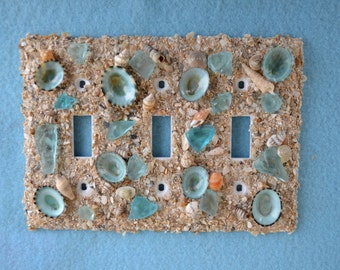 Triple Toggle Switch Plate - Limpet & Seaglass