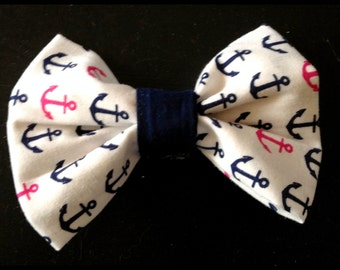 Navy and Pink Anchor Handmade Bow