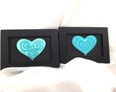 BLUE HEART 1 & 2 -  two original acrylic paintings on a theme