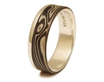 Mokume Gane  Ring Shakudo + Shibuichi + Kuro Shibuichi - Raindrop Pattern -Mens Wedding Band - Wedding Ring inlay Silver Sterling,  木目 銀 リング