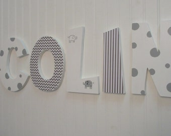 Hanging nursery letters, white & gray nursery letters, baby boy nursery letters, nursery decor, nursery wall letters