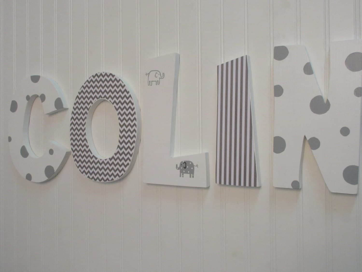 Hanging Nursery Letters White & Gray Nursery Letters Baby