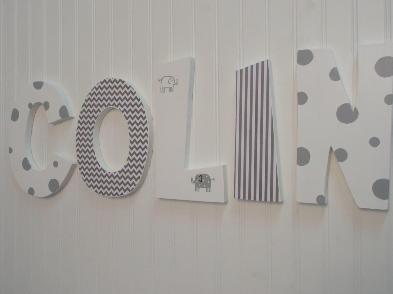 Hanging nursery letters white gray nursery letters baby for Alphabet mural nursery
