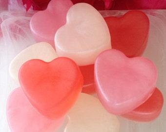 Mini Heart Soaps - Heart Favor Soap - Heart Guest Soap - Rose Soap - Apple Soap - Plumeria Soap - Set of 3 Soaps