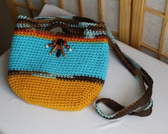 Hand Knit Crossbody Bag Mustard Blue with Gemstones