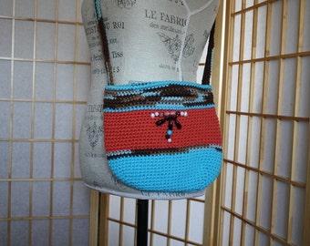 Hand Knit Crossbody Bag Blue Orange with Gemstones