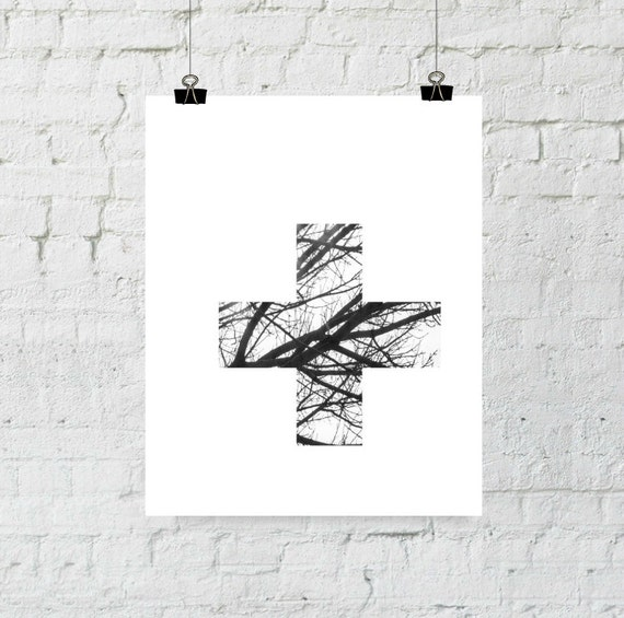 Scandinavian Modern, Tree Branch Decor, Swiss Cross Wall Art, Swiss Cross Print, Wall Art Printable