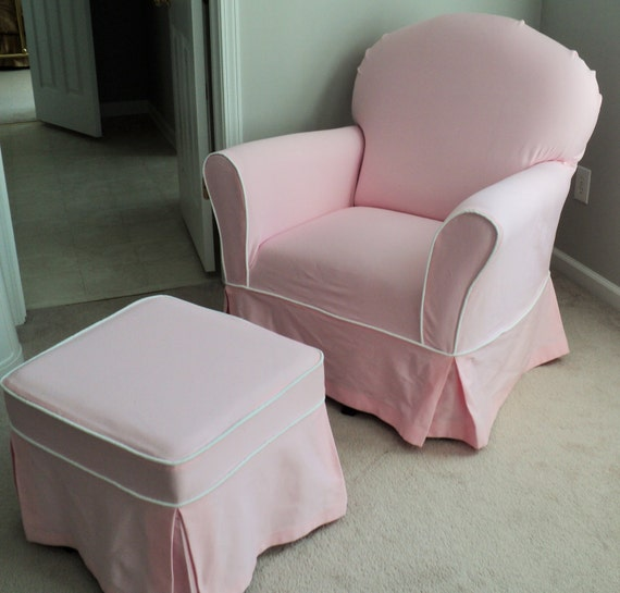 Custom nursery glider chair and ottoman slipcover set
