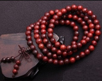 "Free S&H - Top Quality Tibetan 108 8mm Red Sandalwood Yoga Meditation Buddhist Prayer Beads Mala Necklace -32"""