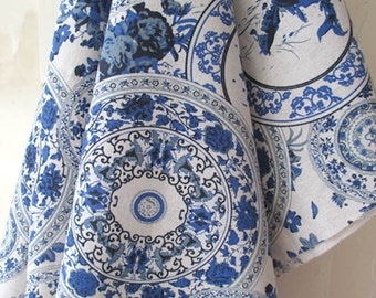 145cm / 57 inch Width, Beautiful Chinese Blue and White Porcelain Patterned Fabric, Half Yard