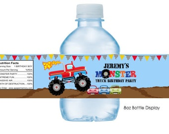 Monster Truck Water Bottle Labels DIY Printable