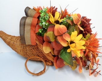 Cornucopia Basket, Horn of Plenty, Thanksgiving decor, Fall Arrangement, Thanksgiving gift basket,Fall Table Accent, Large Cornucopia Basket
