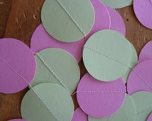 CUSTOM COLOR Paper Circle Garland , Choose Your Own Colors, 2 inch Circles, 10 Feet Long, Graduation, Birthdays, Any Occasion