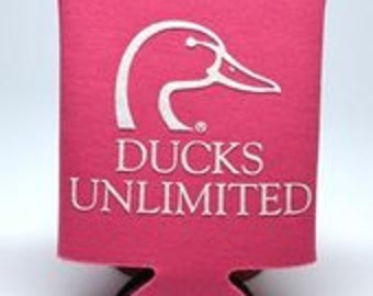 Ducks Unlimited Neon pink can cooler
