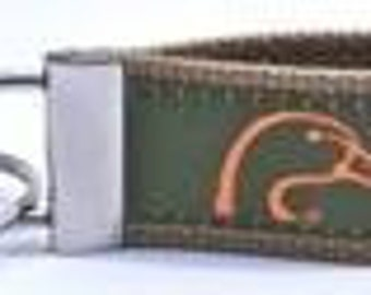 Ducks Unlimited Key Chain Green With Neon Orange Duck