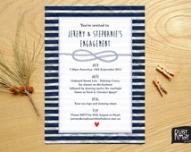 Nautical Engagement Invitation, Tie the Knot Invitation - digital or printed - beach engagement invite, navy blue stripes, modern engagement