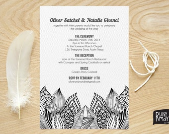 Lotus Wedding Invitation, printed sample, illustrated wedding invitation, linen, black and white wedding, engagement, floral invitation