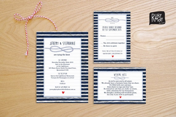 The Knot Addressing Wedding Invitations: Items Similar To Nautical Wedding Invitation And RSVP Card