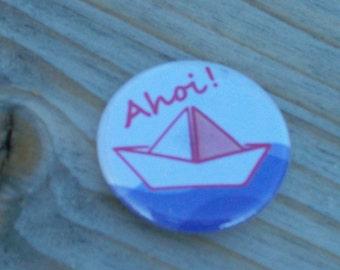 Ship Ahoy button pin pins sailing, boat