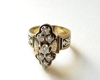 14k Gold and Diamond Ring with Enamel