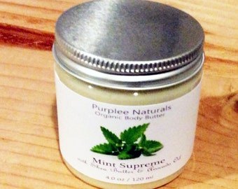 Natural Organic Body Butter & Facial Cream {MINT SUPREME} ~ Botanical Maracuja Oil Base w/ Spearmint, Peppermint Basil