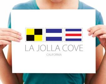 La Jolla Cove - California - Nautical Flag Art Print