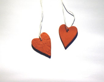 Ceramic heart ornaments - set of two, small sized.