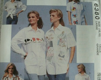 Misses Shirts Sizes 16-18 McCalls Learn To Sew For Fun Pattern 6380 Easy to Sew  NEW UNCUT 1993