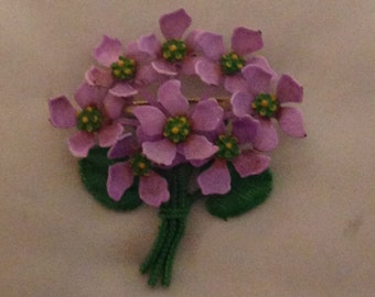 Violets Brooch 60s 70s made in USA Pourpre