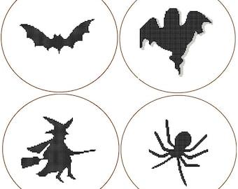 Instant Download set of 4 Cross Stitch Patterns bat ghost witch spider black sillhouette halloween scary jungle animals wild gift