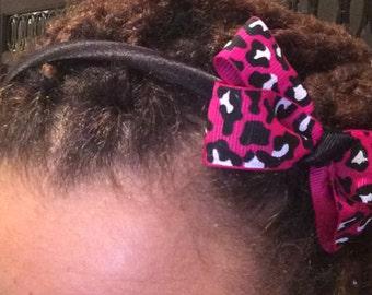 Headband-Leopard, pink, black & white
