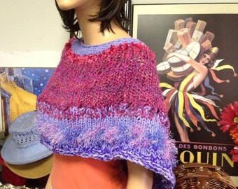 Hand Knit Circular Shawl Caplet Poncho Designer Fashion Berry Purple Liac Novelty Scarf Cowl Neckwarmer